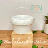 500ml Almond White Container (per dozen )